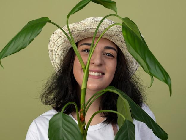 園芸帽子をかぶって制服を着た若いブルネットの女性の庭師の笑顔は、オリーブグリーンの壁に隔離された植物の後ろに立っています