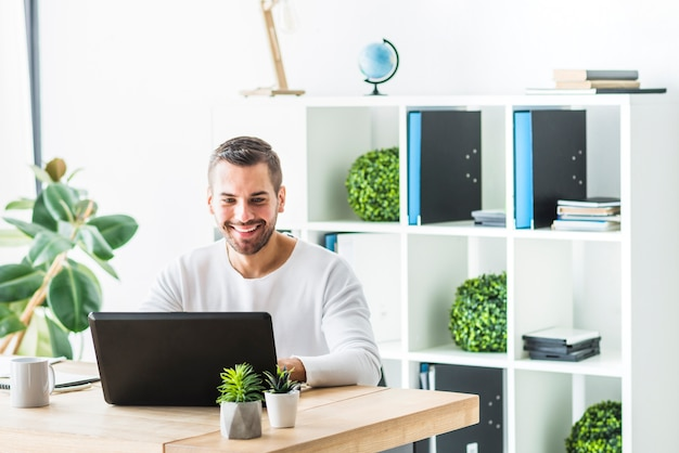 Smiling young businessman using laptop in office