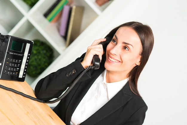 Smiling young businesswoman talking on telephone in the office