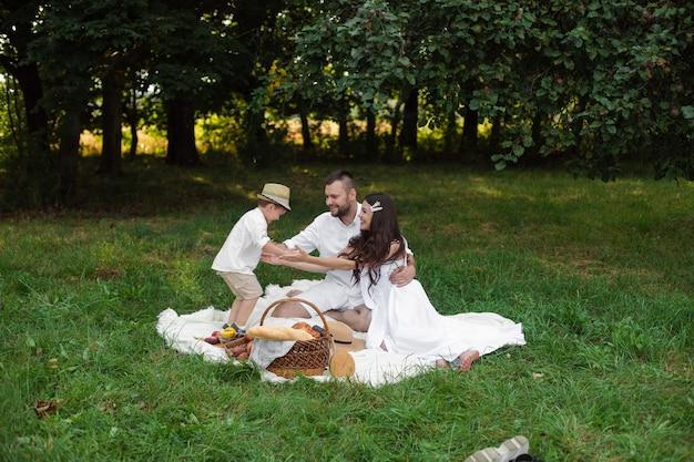 小さな子供が腕にぶつかりながら、公園で格子縞で休んでいる若い父と母の笑顔。家族とレジャーのコンセプト