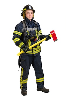 Smiling young man in firefighter uniform
