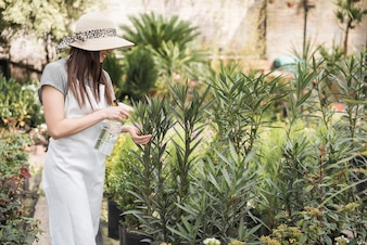 Smiling young woman wearing hat spraying water on green plants