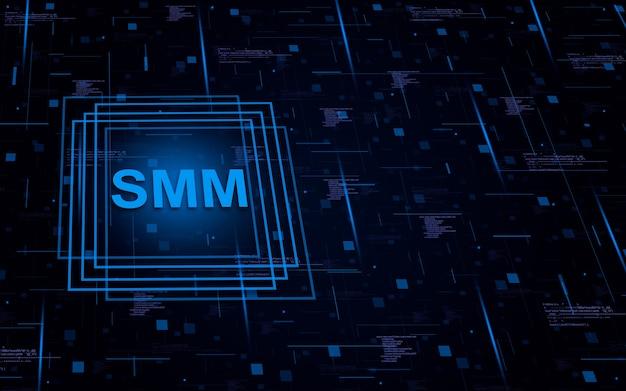 Smm на технологическом фоне с элементами кода и световыми линиями
