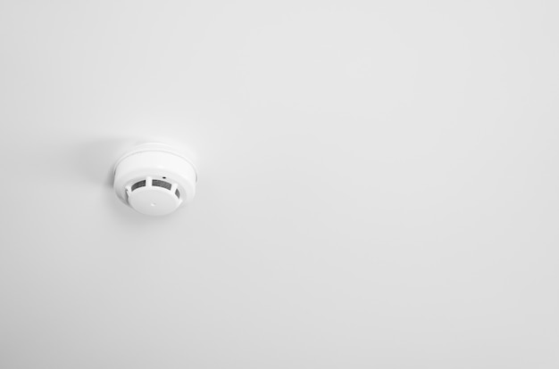 Smoke detector and pendent fire sprinkler on a ceiling.
