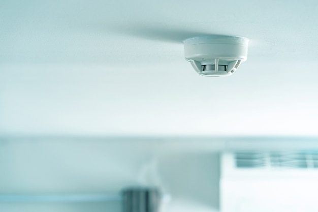 Smoke fire detector, smoke detector on ceiling