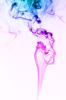 Smoke floating in the air on white background
