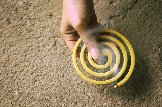 Smoke from mosquito spiral repellent