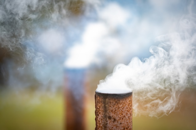 Smoke pipe from industry to air pollution