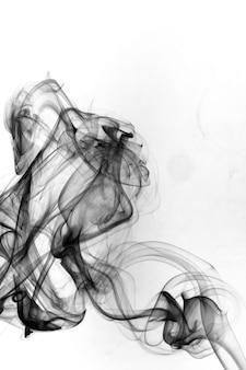 白い背景の上の有毒な動きを煙します。
