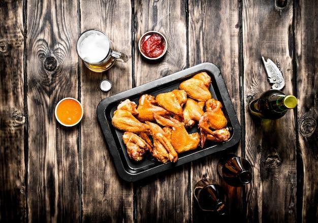 Копченые куриные крылышки с пивом