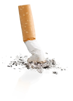 Smoked a cigarette on a white background