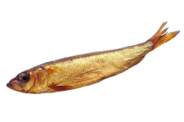 Копченая рыба, изолированные на белом фоне