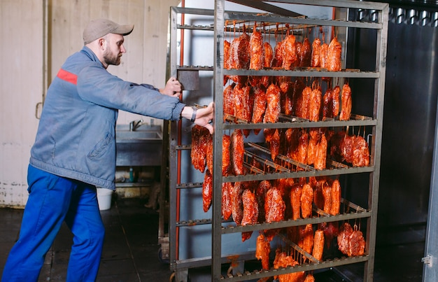 Smoked ham in the oven. sausage production in the factory.
