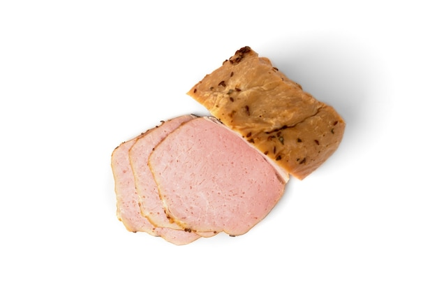 Smoked pork meat isolated on white background.