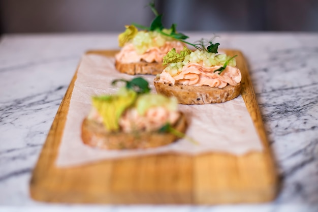 Smoked salmon pate on bread slices