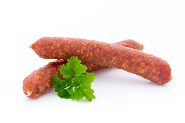 Smoked sausage salami isolated.