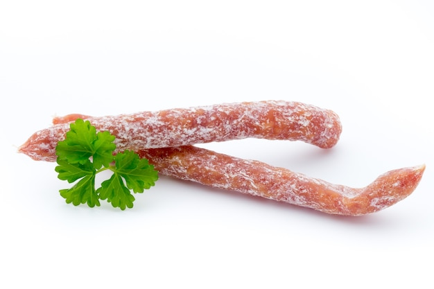 Smoked sausage salami isolated