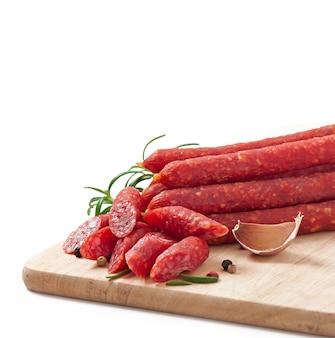 Smoked sausage with rosemary, peppercorns and garlic