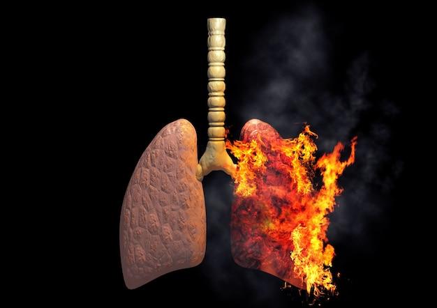 Легкие курильщика горят от чрезмерного употребления сигарет. понятие о болезнях и раке, вызванных курением. 3d рендеринг