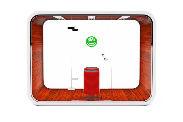 Smoking booth. special room for smokers. smoking area for cigarettes, tobacco, vipes and e-cigarettes on a white background. 3d rendering