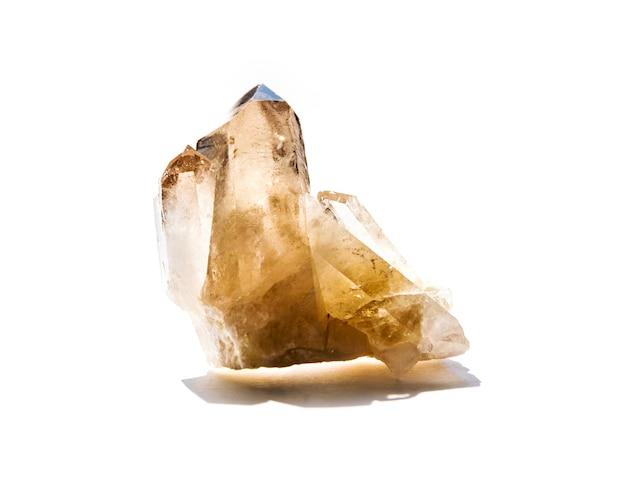 Smoky quartz gemstone isolated on a white background