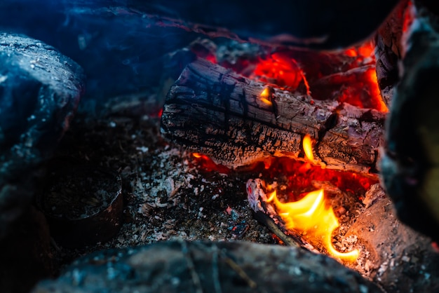 Smoldered logs burned in vivid fire.