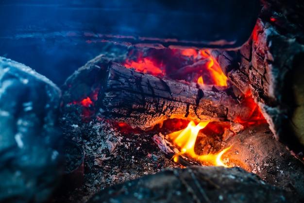 Smoldered logs burned in vivid fire