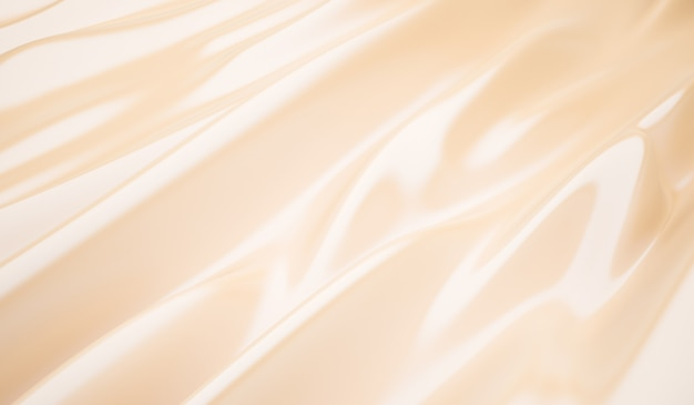Гладкий элегантный золотой шелковый свадебный фон крупным планом из рифленых кремовых шелковых линий ткани