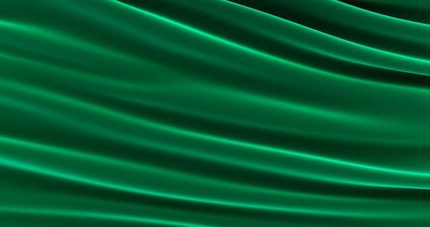 Гладкая элегантная зеленая шелковая или атласная роскошная ткань, красивая зеленая атласная ткань