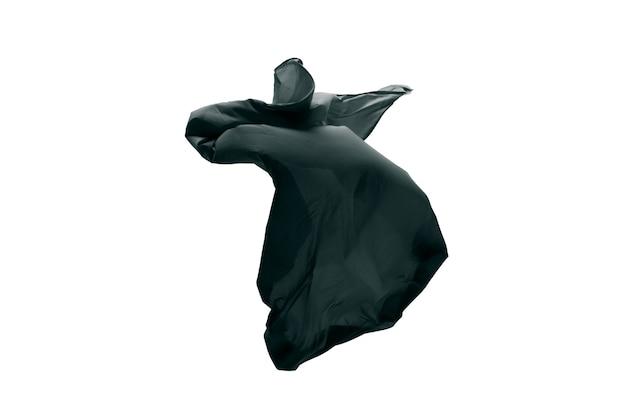 Гладкая элегантная прозрачная черная ткань, разделенная на сером фоне