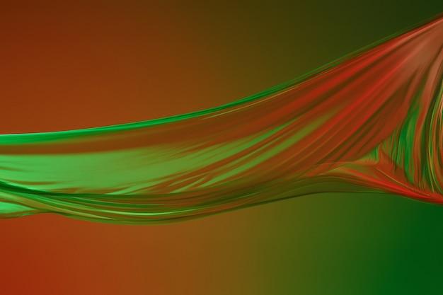 Гладкая элегантная прозрачная зеленая ткань на зеленом фоне.