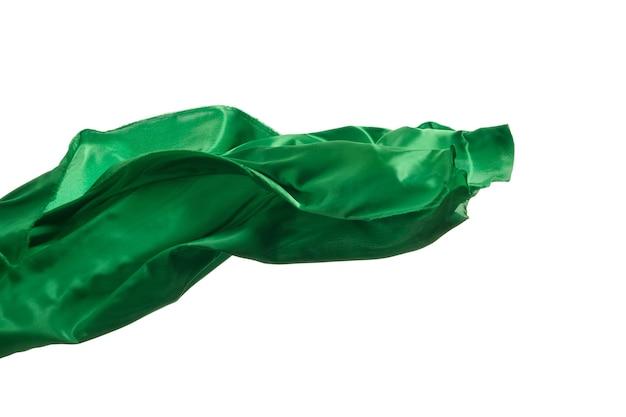 흰색 배경에 분리된 부드럽고 우아한 투명한 녹색 천.