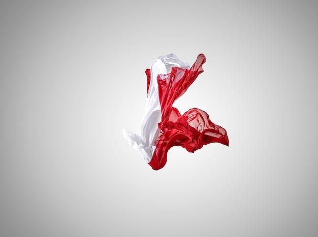 灰色の背景に分離された滑らかでエレガントな透明な赤と白の布。