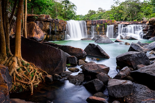 Smooth flow a tadtone waterfall in chaiyaphum thailand