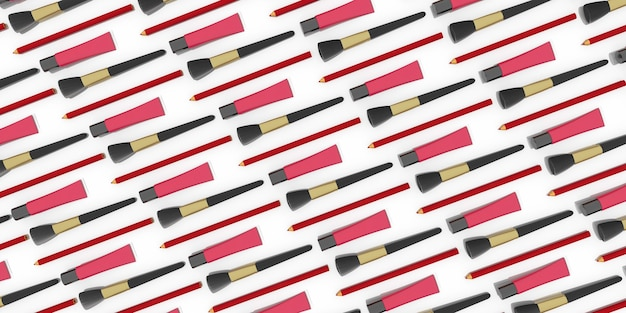 口紅の滑らかな列が3dイラストをクローズアップ
