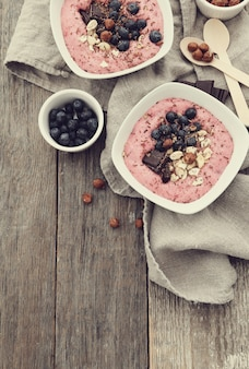 Smoothie bowl with chocolate and berries