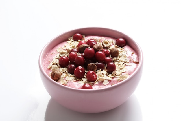 Smoothie bowl with oat and cranberries