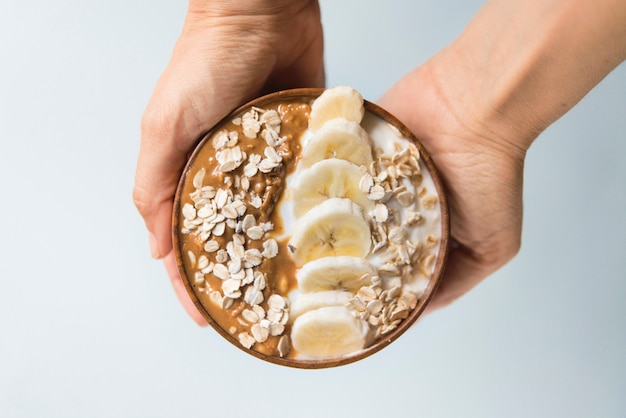 Smoothie bowl yogurt with peanut butter and banana and oats