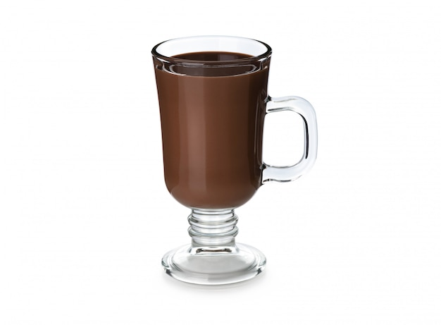 Smoothie chocolate in vintage glass on white background