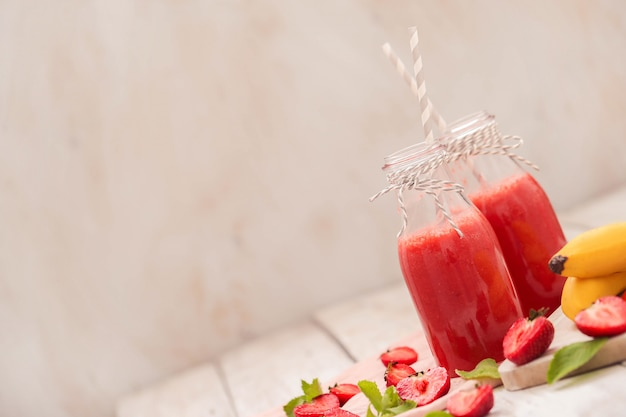 Smoothie drink with strawberries