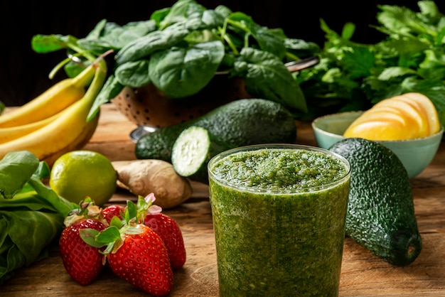 Smoothie fruit vegetables and detoxifying drink for a healthy diet