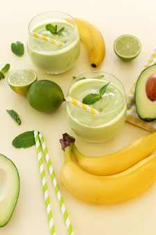 Smoothie with avocado, banana and lime