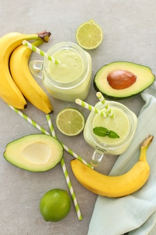 Smoothie with avocado and banana