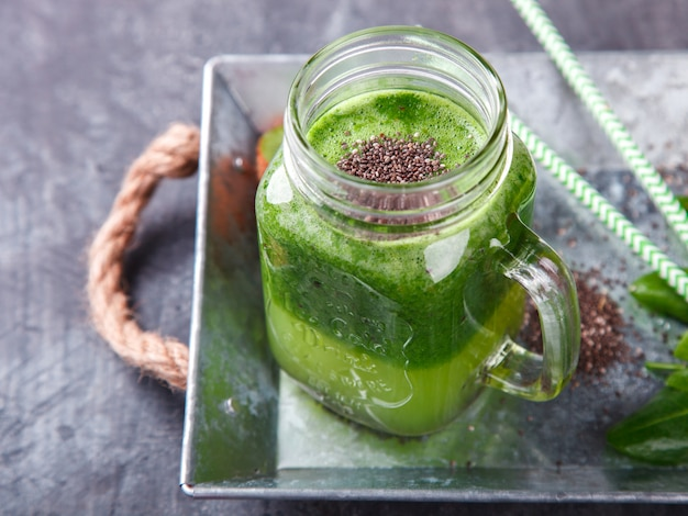 Smoothies of green. summer refreshing drink.