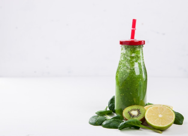 Smoothies green. summer refreshing drink.