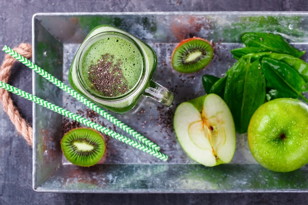 Smoothies of green vegetables and fruits.