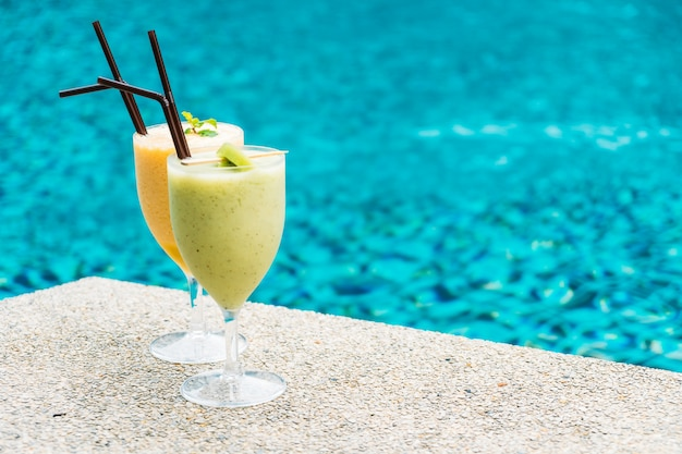Smoothies with pool background