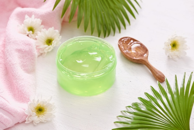 Smoothing gel aloe vera formula represent the cosmetic and bodycare.