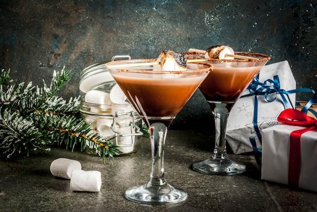 新年とクリスマスの飲み物のアイデア、トーストsmoresマティーニ