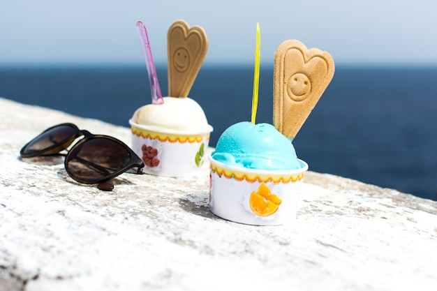 Smurf ice cream by the sea